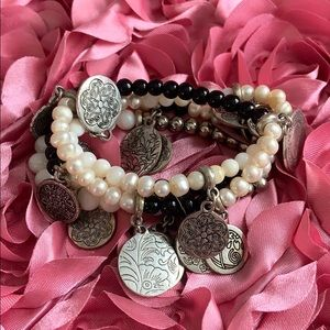 Pearls and Black Bracelets with Metal Charms